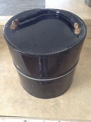 Vintage Wig/Hat Luggage Case Round Travel Storage Black Zippered Patent Leather