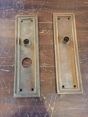Da 2 Match Pair Antique Brass Bronze Entrance Door Plates 2.875 X 10.125