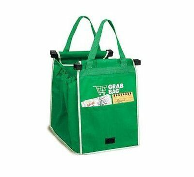 GRAB BAG Clip To Cart Reusable Grocery Shopping Bags 2 Pack FREE SHIPPING!!