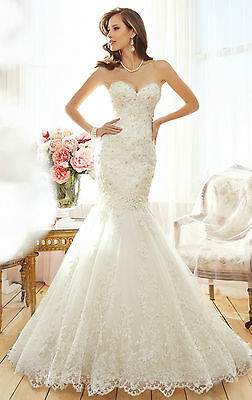 New Mermaid White/ivory Wedding dress Bridal Gown custom size 4 6 8 10 12 14 16+