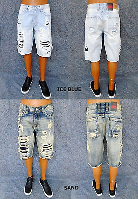 960a8c3690cb Men s JORDAN CRAIG ice blue sand shredded denim legacy shorts style J252S