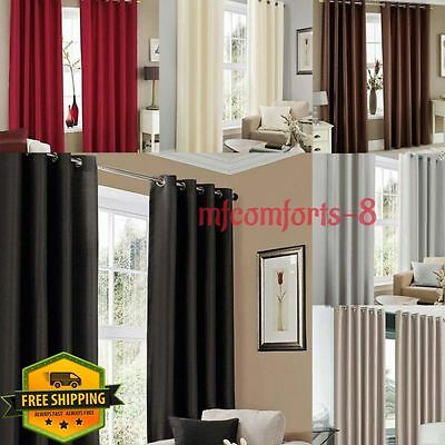 Luxury Pair Thermal Blackout Lined Eyelet or Pencil Pleat Curtains + Tie Backs