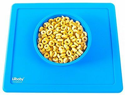 Lilbaby Silicone Suction Baby Toddler Bowl One-Piece Placemat Minimat - Blue