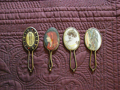 4 Vintage Celluloid ADVERTISING Oval Pocket Mirrors with handles