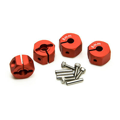 Red Aluminum Alloy 12mm Hex Wheel Hubs 8mm Thick for 1:10 RC Crawler Cars 4PCS