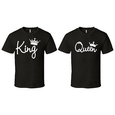 King Queen Letters Matching Couples Love Set T-Shirts Tee T Shirt TSHIRT