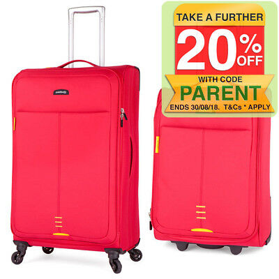2PK Paklite Featherweight/Medium/Cabin Travel Luggage Set/Suitcase Wheels - Red