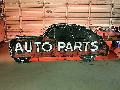 Large neon sign Auto Parts...Gas Oil