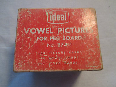 VINTAGE IDEAL VOWEL CARDS for PEG BOARD with COLOR PICTURES