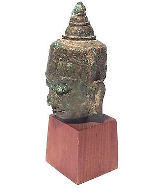 Antique Vintage Southeast Asia Bronze Buddha Head Bust Figure Sculpture Wood
