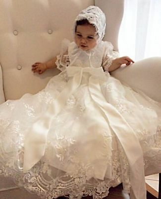 High Quality Custom Christening Dress Lace Beaded Baby Girl Baptism Gown BONNET