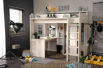 hochbett kinderbett multifuktionsbett bett wei higher 1a. Black Bedroom Furniture Sets. Home Design Ideas