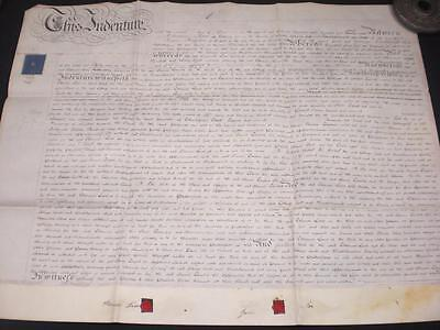 1840 Vellum Indenture, Surfleet, Lincolnshire & Wax Seals, A-Grade