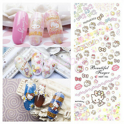 3 in 1 Cartoon Hello Kitty Style Nail Art Sticker Water Transfer Cats Decoration