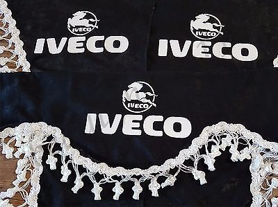 Set Of 3 Black Curtains With White Tassels  And Logo For IVECO TRUCKS