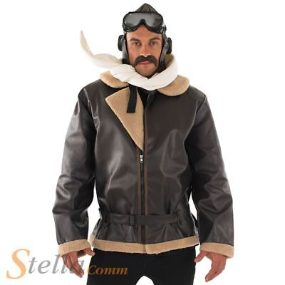 WW2 Wartime Fighter Pilot Biggles War 1940's 40's Adult Mens Fancy Dress Costume