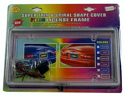 Number plate frame illuminated blue 1 piece
