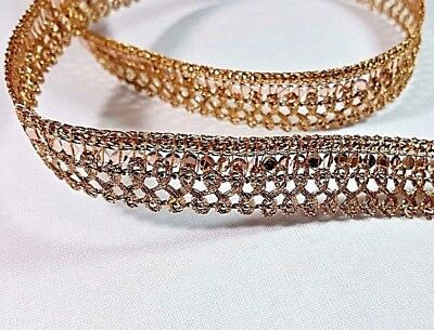 1.5cm- 2 meter Beautiful dark gold with sequins ribbon lace trimming edging