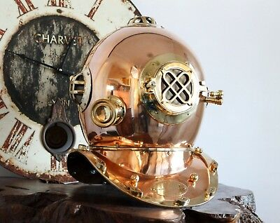 LIFE SIZE DIVING HELMET BRASS US NAVY replica Nautical Seaside Beach House Piece