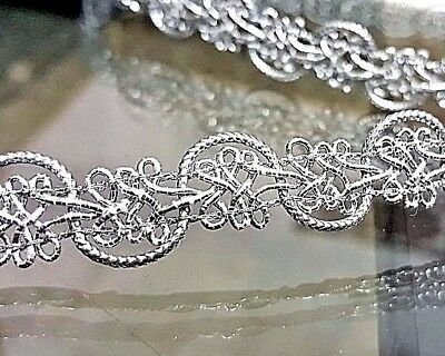 1.5cm- 2 meter high quality gorgeous silver braid lace trimming for crafts decor