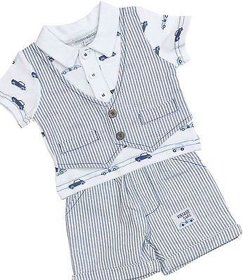 BabyPrem Boys Baby Clothes 2 Piece Outfit 'Cars' T-Shirt Shorts Waistcoat Set