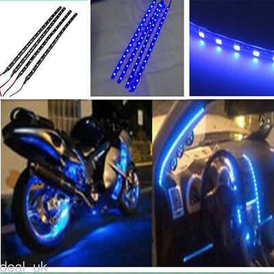 4x Blue 15 LED Flexible Light Strip 30CM For Car Vehicles Grill 12V Decor dk46