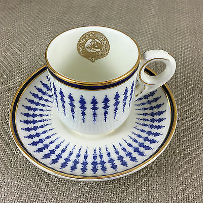 Rare Mappin Webb Coffee Cup & Saucer Jockey Club Armorial Horse Racing Antique