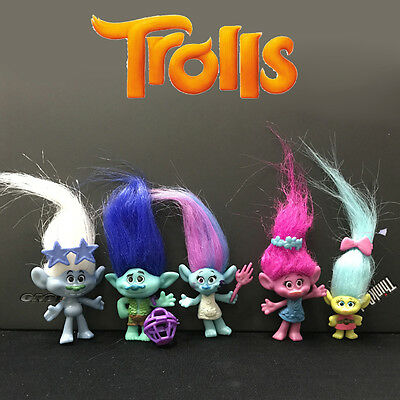 New 5Pcs/set Trolls Action Figures Doll Collectibles Toy Kid Girl Birthday Gifts