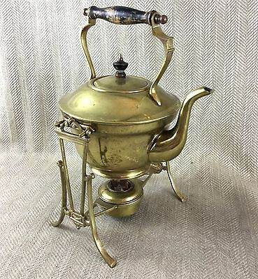Antique Art Nouveau Brass Spirit Kettle Teapot Burner Stand William Soutter
