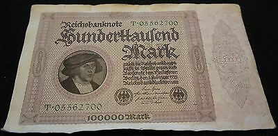 1923 German 100000 Mark Bank Note in VG Condition Extremely Nice OLD Note!!