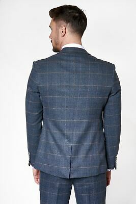 Mens Marc Darcy Designer Blue Check Tweed Blazer Waistcoat Trouser