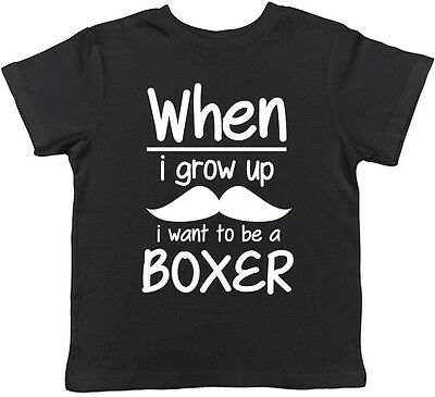 When I Grow Up I want to be a Boxer Childrens Kids T-Shirt Boys Girls Boxing Tee