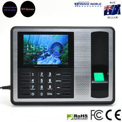 Self-Service Fingerprint Time Attendance  4 inches TFT Screen (Black)