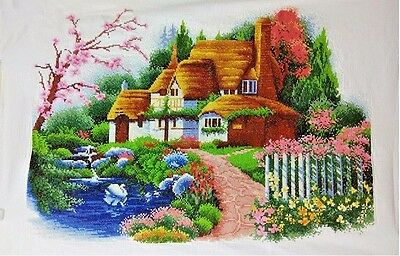 """Large NEW finished completed Cross stitch""""Dreaming House""""wall decor gift"""