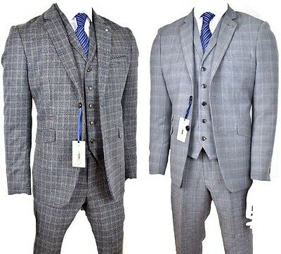 Mens 3 peice check Suit, light Grey with black check, wedding party prom new