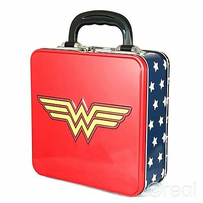 New DC Comics Wonder Woman Logo Square Tin Tote Lunch Box Storage Official