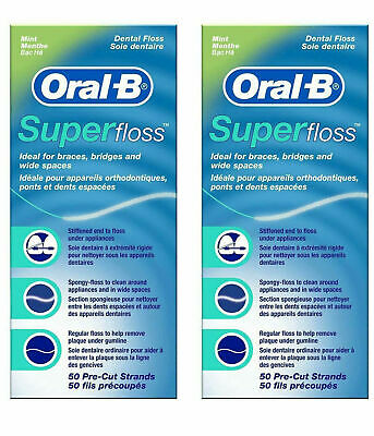 2 x Oral B Super Floss Mint Dental Floss Braces Wide Spaces 50 Pre-Cut Strands