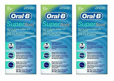 3 x Oral B Super Floss Dental Floss Braces Wide Spaces 50 Pre-Cut Strands