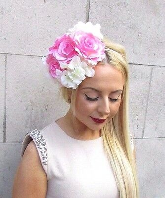 Light Pink Ivory Hydrangea Rose Flower Fascinator Races Headband Headpiece 2460
