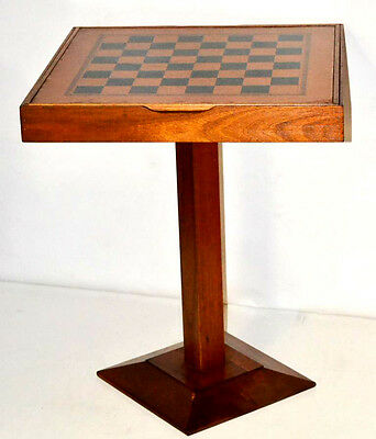 Art Deco Chess Card Backgammon Game Table with contents - FREE Shipping [PL3291]
