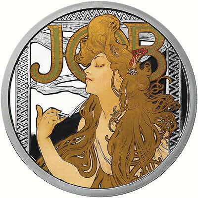 Alphonse Mucha Collection - JOB 1 oz .999 Silver Colorized Proof Round USA Coin