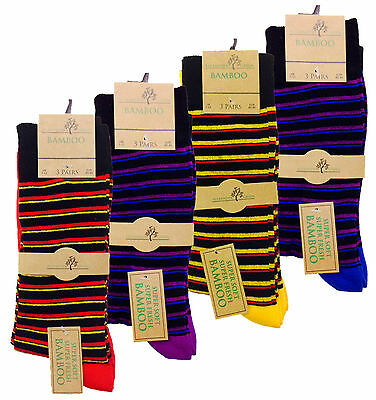 3 Pairs Mens Alexander Green Bamboo Socks 7-11 Stripes Style Soft & Comfortable