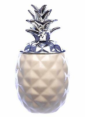 19cm White and Silver Ceramic Pineapple Trinket Box With Lid Storage Tin Jar