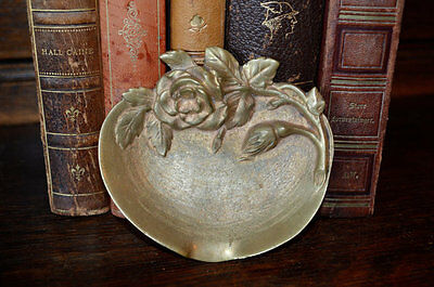Antique French Trinket Decorative Jewelry Dish Bronze Rose Design