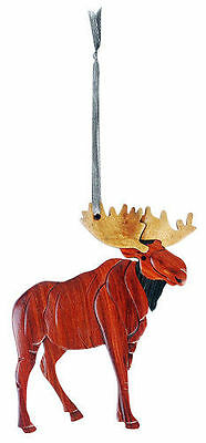 INTARSIA WOOD MOOSE ORNAMENT, handcrafted wood mosaic, double sided with ribbon