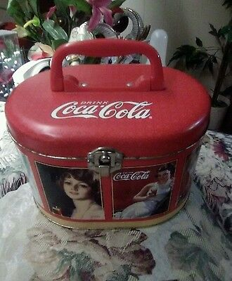 Vintage COCA-COLA tin lunch box. Oblong tin box with lock & handle.