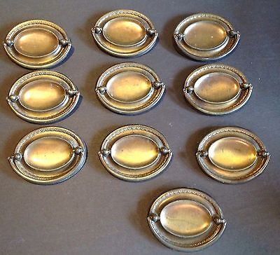 TEN Duncan Phyfe Hepplewhite Type Antique Hardware Vintage Brass Drawer Pulls
