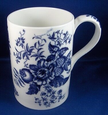 Nice Antique English Porcelain Blue & White Floral Tankard England Stein Mug Cup