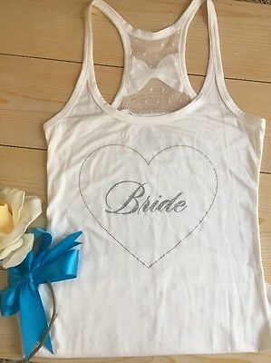NWOT VICTORIA'S SECRET Bride  Tank Top Womens Sz M Bling Racerback Bow Wedding
