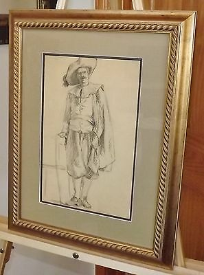 19th Century Old Master Framed Graphite Drawing, Sepia Red Chalk vintage antique